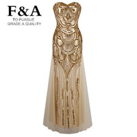 New Luxury Brand Strapless Sequined A Line Dress Tulle Lace Up Long Party Dresses Vestidos de noche Golden Gowns S M L XL