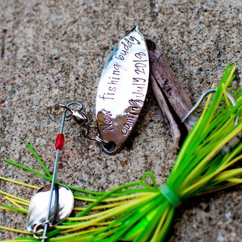 Daddy's new fishing buddy Fishing Lure Hand Stamped with Date - Engraved - Baby Announcement