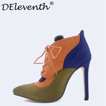 DEleventh 2017 Multicolor Lace-up Ankle Boots Pointed Toe High Heels Shoes Rabbits Fur Contrast Color Shoes Women Orange Boots