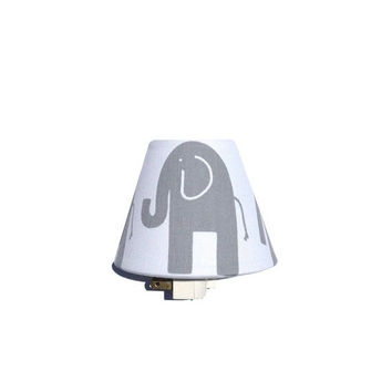 SALE Elephant Night Light / Baby Girl Boy Nursery Decor / Gray and White Unisex Gender Neutral / Premier Prints Twill Storm Grey