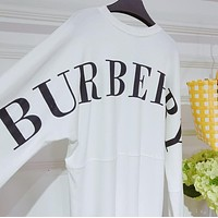 Burberry Popular Women Loose Personality Back Big Logo Print Long Sleeve Round Collar Thin Pullover Top Sweater White I13614-1
