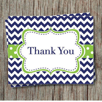 Birthday Thank You Cards Navy Blue Lime Green Chevron Baby Shower Bridal Party Printable File Instant Download - 004