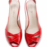 SALE 35% Discount Womans Red Peep Toe Mid-Heel Sandal // US sizes 4.5-12