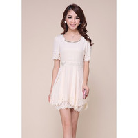White Short Sleeve Cut-Out Mini  Dress