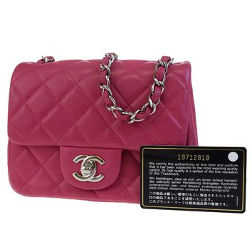 Authentic CHANEL CC Logos Quilted Chain Mini Shoulder Bag Leather Pink 658X020
