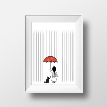 Raining, girl with cat, nursery art, wall art, modern minimalist, walldecor , girl, cat, rain, digital printable, downloadable print
