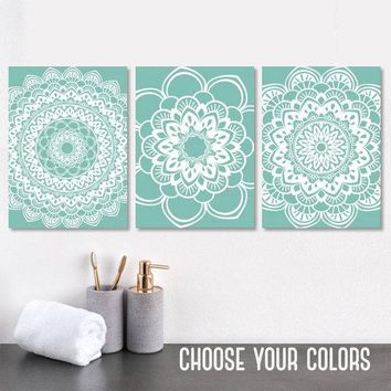 Mandala Wall Art, Aqua BATHROOM Wall Decor, CANVAS or Prints, Aqua Bathroom Decor, Mandala Artwork, Aqua Bedroom Wall Decor, Set of 3 Art