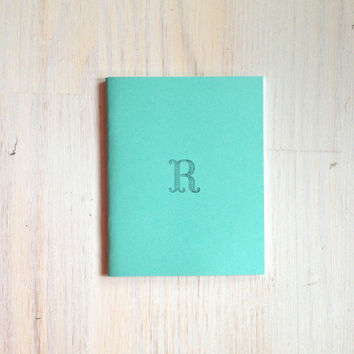 Monogram Notebook: Medium Notebook, Monogram, R, Blue, Blank Journal, Wedding, Custom, Monogram Journal, Unique, Gift, Stocking Stuffer
