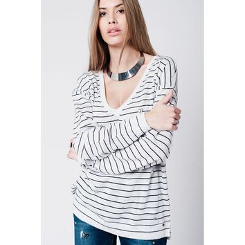 Grey striped sweater with gem details