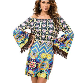 Spring Women Dress European Style Off Shoulder Fashion Summer Clothes Bohemian Female Vestidos De Festa Casual Tunic Dresses