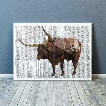 Modern art Ox poster Colorful decor Farm animal print TOA79-1