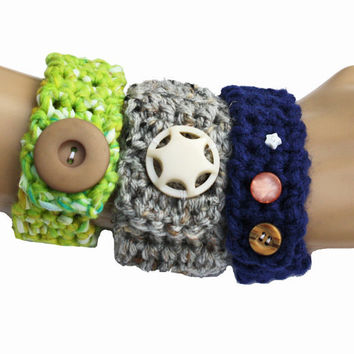Crochet Wrist Cuffs- Set of 3
