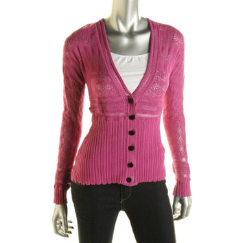Catherine Malandrino Womens Pointelle Button Front Cardigan Sweater