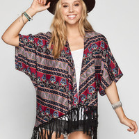Lottie & Holly Boho Print Womens Fringe Kimono Multi  In Sizes