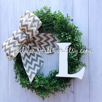 Monogram Boxwood Wreath - Burlap Wreath - Boxwood Door Hanger - Chevron Wreath - Spring Wreath