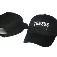 Kanye West Yeezus Mens Womens Black Strapback Hat Cap Baseball Cap Embroidery Fitted Trucker Sun Hat