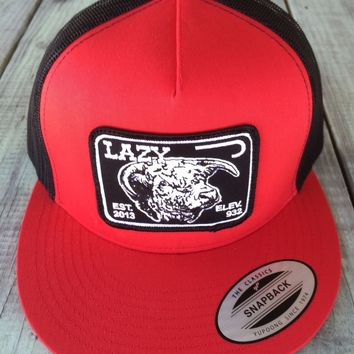 5693156a Lazy J Red and Black Elevation Hereford Patch Hat (4