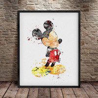 Mickey Mouse Print, Mickey Mouse wall art, Mickey mouse Watercolor, Disney Watercolor, Mickey Art Print, Disney Wall Art, Disney Art -a13