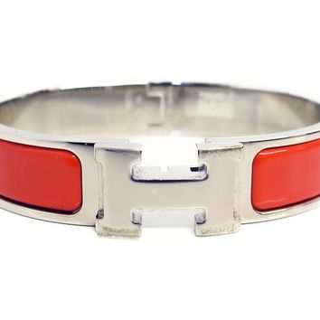 Authentic HERMES Clic H Enamel Bracelet Bangle Red Palladium Plated Used Vintage