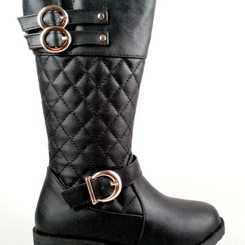 Girl's Faux Leather Boot with Quilt Design and Buckle Detail
