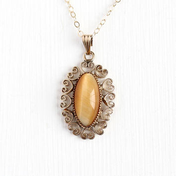 Tiger's Eye Pendant - Vintage 12k Gold Filled Heart Cannetille Filigree Charm Necklace - Retro Light Honey Brown Oval Cabochon Gem Jewelry
