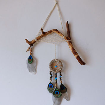 DreamCatcher Boho Wall Hanging Home Decor Peacock Feather With Tribal Wooden Natural Talisman Turquoise Beads