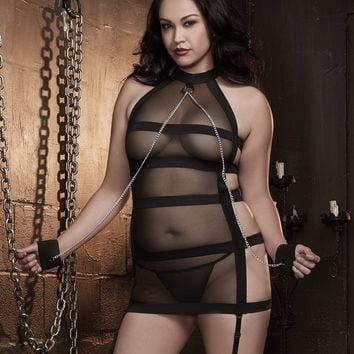 Plus Size Fetish Halter Garter Slip with Chain Wrist Restraint
