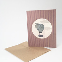 Handmade fabric greeting card - cute whimsical koala in hot air balloon - handmade blank card