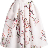Floral Pleated Accent Mid Skirt