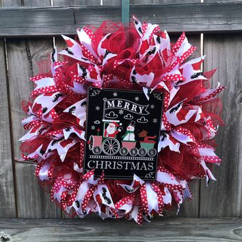 Santa Claus Christmas Mesh Outdoor Front Door Wreath; Red, White, Black
