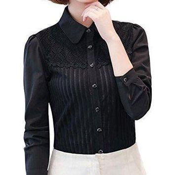 DPO Women's Vintage Collared Pleated Button Down Shirt Long Sleeve Lace Blouse