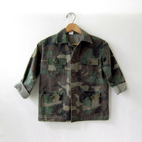 Vintage military shirt. army shirt. green camouflage shirt - jacket. boys army shirt.