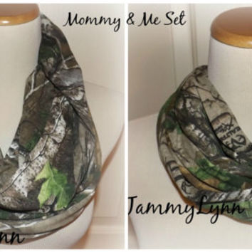 Mommy and Me Set of REALTREE Camo Scarves Camouflage Fashion Infinity Scarf Hunting Duck Dynasty Scarf Women's Girls Accessories