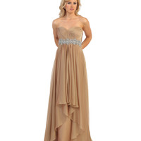 Nude Strapless Sweetheart Illusion High Low Dress 2015 Prom Dresses