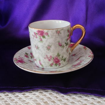 Inarco Rose Chintz Demi Cup and Saucer, E 728 Japan, Vintage Espresso Collectible Set 1956 Pink Roses, Grey Leaves, Gold Trim