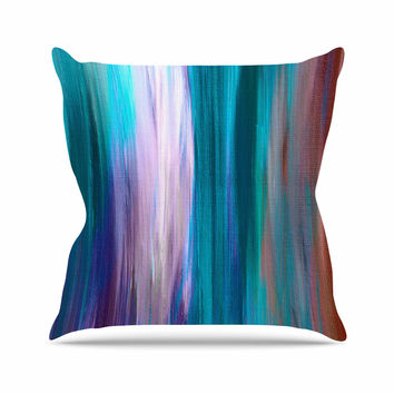 "Ebi Emporium ""Irradiated Multi 3"" Teal Lavender Outdoor Throw Pillow"