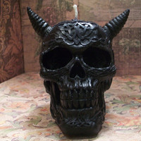 Celtic Horned Black Beeswax Skull Candle