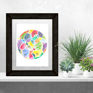Original Abstract Watercolor, Circle Art, 9x12, Circle Watercolor, Rainbow, Bright, Gold Leaf, Wall Art, One of a Kind, Contemporary