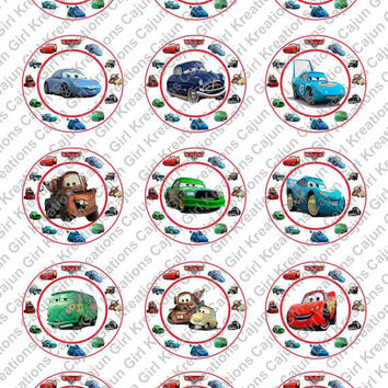 """Disney Cars 1"""" Round Circles Bottle Cap Images Cupcake Toppers Instant Download Digital Emailed 4x6"""