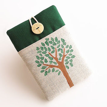 Tree Ipad mini case, Ipad mini cover, Ipad mini sleeve with pocket-Hand painted.