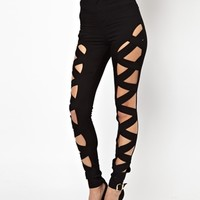 ASOS Rivington High Waist Denim Jeggings in Clean Black with Plait Fro