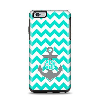 The Teal Green and Gray Monogram Anchor on Teal Chevron Apple iPhone 6 Plus Otterbox Symmetry Case Skin Set