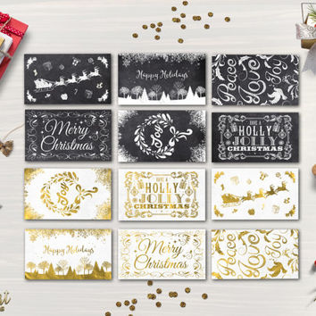 Christmas Tags Printable Holiday Gift Tags 12 Christmas Labels Printable Christmas Gift Tags Chalkboard Gold foil Gift Bag Tag Digital File
