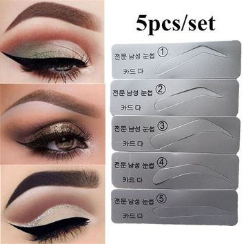 HOT 5Pcs Eyebrow Template Stencils Brow Grooming Card Trimming Shaping Beauty Tool