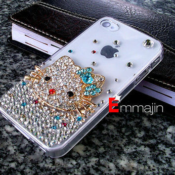 white Bling Crystal iPhone 4 case,B Diamond Hellokitty iphone4 case,Iphone accessory custom order for Htc,blackberry,motolaro