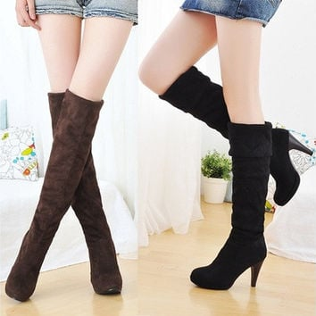 Women's Shoes Over the Knee Thigh Stretchy High Heels Boots Faux Suede Sexy B_W [8243885319]