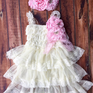 Rustic girl dress, pin, ivory, country, light pink, cream lace chiffon dress, flower girl, bridal wedding, shabby chic, vintage, ruffle