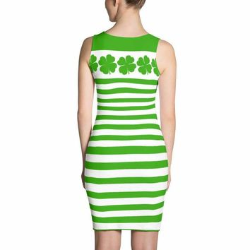 St. Patricks Day Dress - Saint Patricks Day Dress - Clover Dress - Green Stripe Dress - Irish Dress