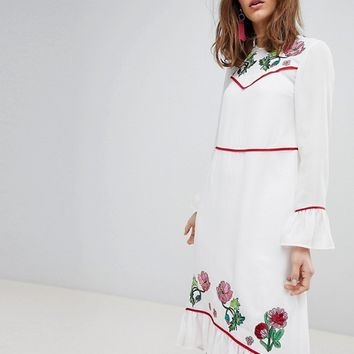 ASOS Embroidered Yoke Western Midi Dress at asos.com