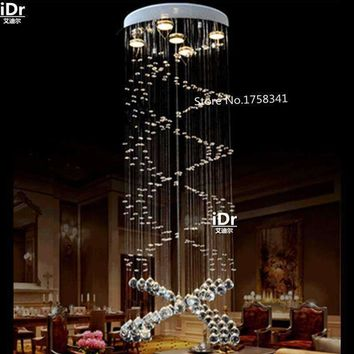 Double spiral staircase lamp K9 crystal chandelier lamp living room lamp Ceiling crystal lamp Bedroom lights